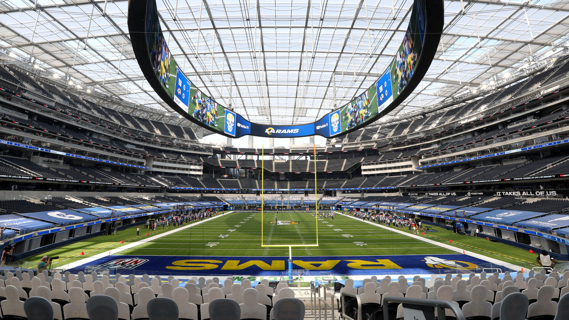 SoFi Stadium in Inglewood is seen during a game between the Los Angeles Rams and the New York Giants on Oct. 4, 2020. (Maxx Wolfson / Getty Images)