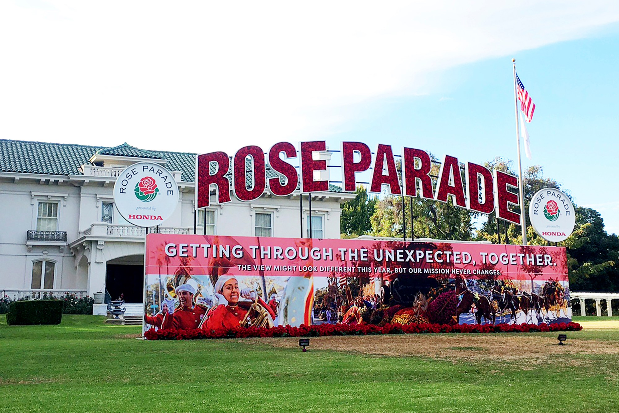 Tournament House, the headquarters of the Tournament of Roses, sponsor of the Rose Parade, is shown Wednesday, Dec. 9, 2020, in Pasadena. (AP Photo/John Antczak)