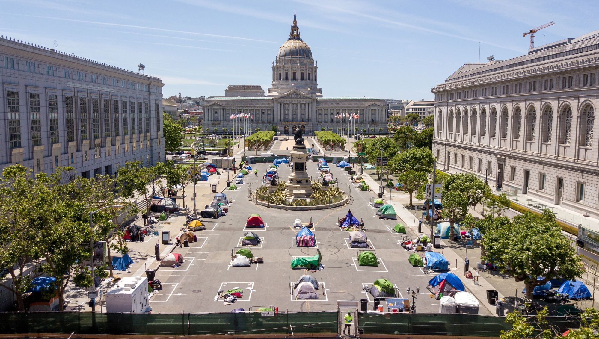 An aerial view shows squares painted on the ground to encourage homeless people to keep to social distancing at a city-sanctioned homeless encampment across from City Hall in San Francisco, California, on May 22, 2020, amid the novel coronavirus pandemic. (Josh Edelson/AFP via Getty Images)