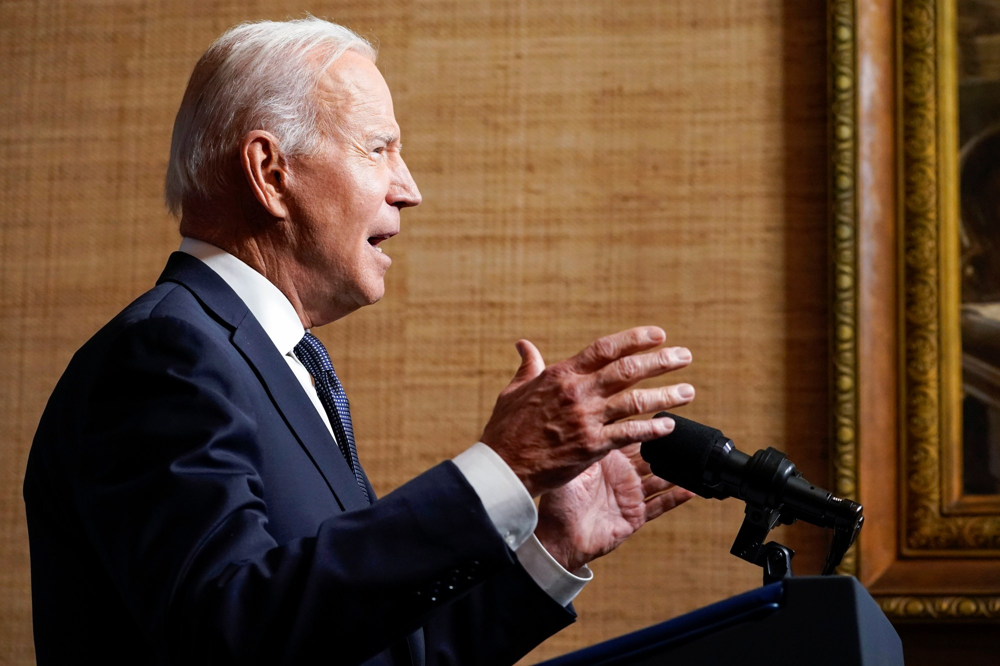 President Joe Biden speaks from the Treaty Room in the White House on Wednesday, April 14, 2021, about the withdrawal of the remainder of U.S. troops from Afghanistan. (AP Photo/Andrew Harnik, Pool)