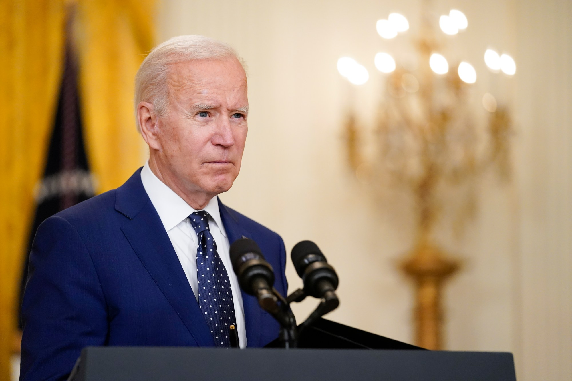 President Joe Biden speaks in the East Room of the White House on April 15, 2021, in Washington. (AP Photo/Andrew Harnik)