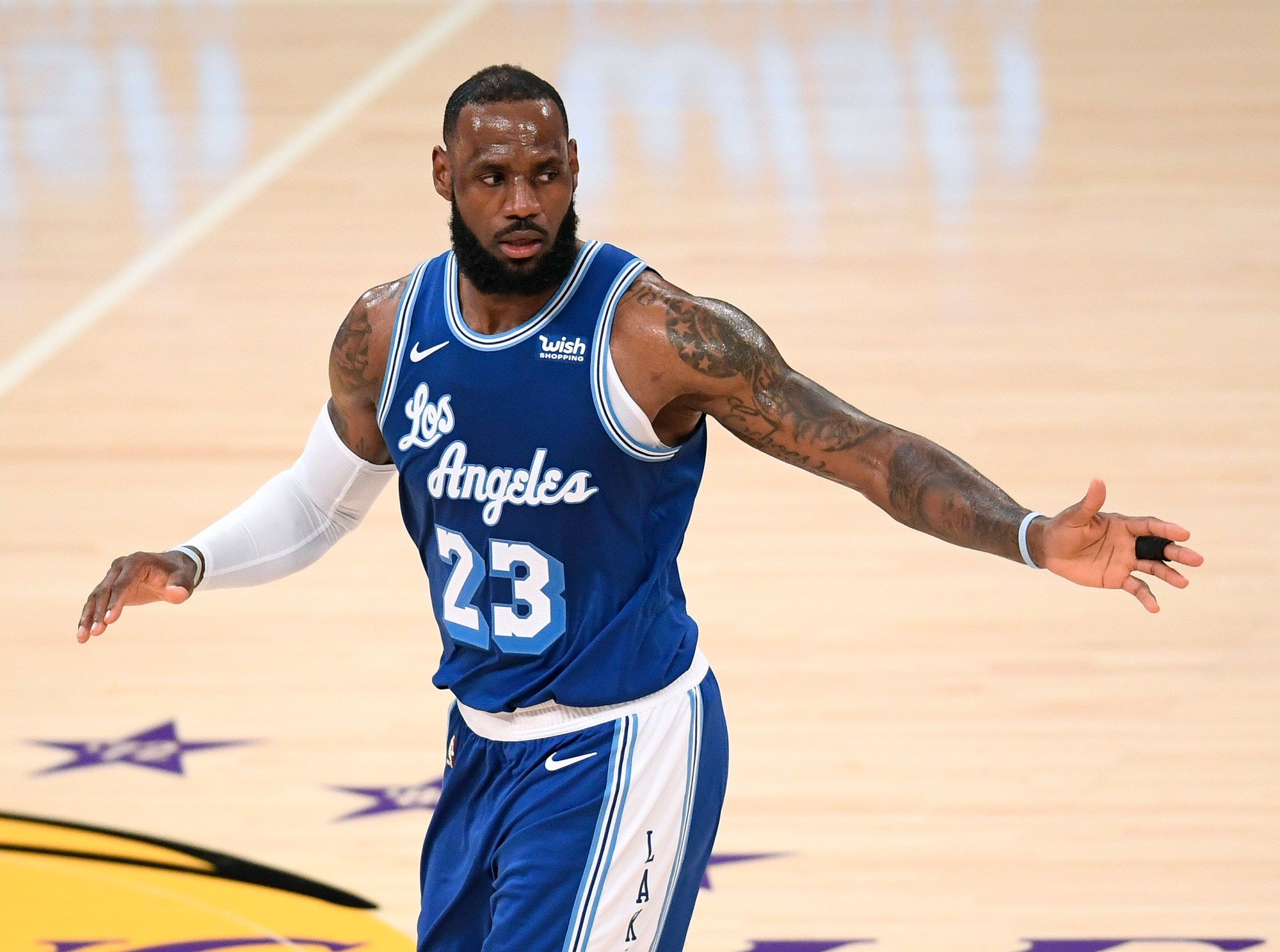 LeBron James #23 of the Los Angeles Lakers reacts to a basket during a 137-121 Lakers win over the Minnesota Timberwolves at Staples Center on March 16, 2021. (Harry How/Getty Images)