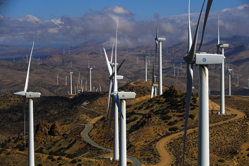 California has looked to renewable energy, including from wind farms such as this one in the Tehachapi Mountains, to reduce greenhouse gas emissions. (Irfan Khan / Los Angeles Times)