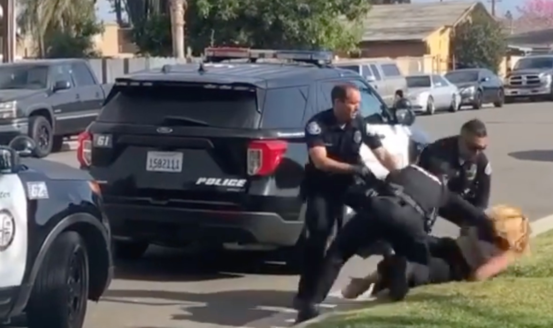 Cell phone footage captures a Westminster Police Department officer punching a woman while arresting her on suspicion of assault on April 22, 2021. (Sandy Armenta)