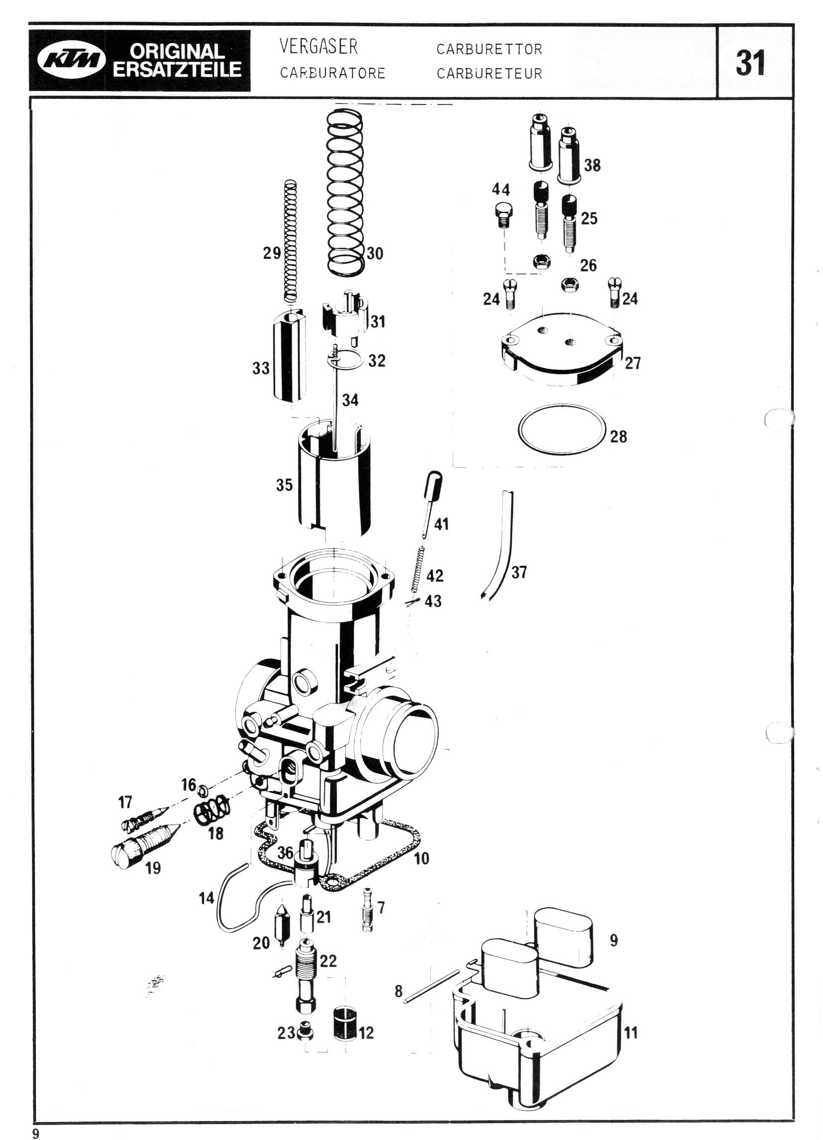 KTM MC/GS engine spare parts manual
