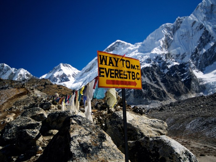 Everest Base Camp at an altitude of 5364 m above the sea level