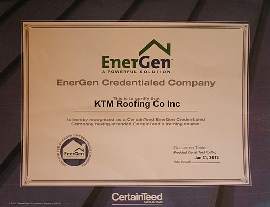 KTM Roofing EnergGen Certification