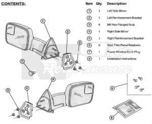 Dodge Tow Mirrors (200208) 1500 Ram & (200309) 25003500 Ram, Power, Heated, Telescopic