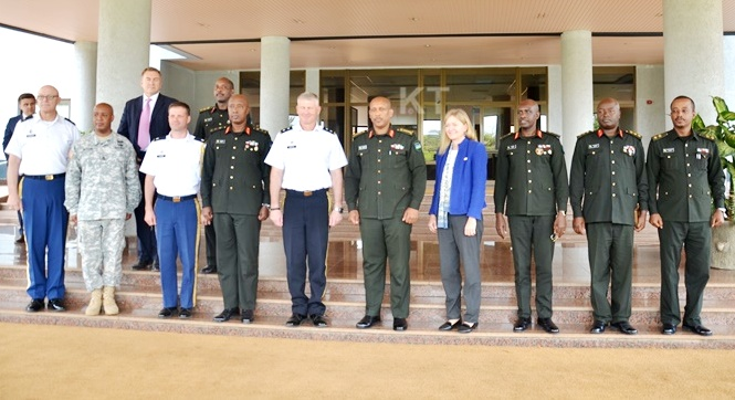 Major General Kurt Sonntag, commander of Combined Joint Task Force-Horn of Africa (CJTF-HOA) (5th from left) in Rwanda for consultations