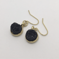 Black Druzy Gold Earrings 2 (1)  KTS Creative Korner