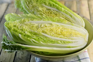 halves fresh salad of Chinese cabbage on the table