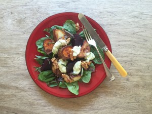 warm roast veggie salad caramelised walnuts avocado olive oil dressing