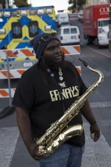 Saxophone man on 6th St.