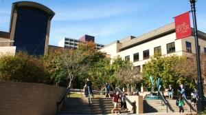 Students near the LBJ Center. Photo by Nathalie Cohetero.