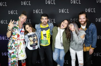 DNCE posed for a funny picture at the meet and greet. Photo by DNCE staff.