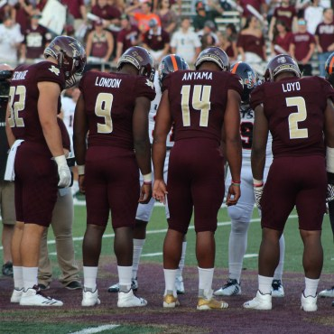 Coin toss at the Texas State and UTSA game in 2017