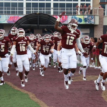 The Bobcats racing out of the tunnel in San Marcos, Texas