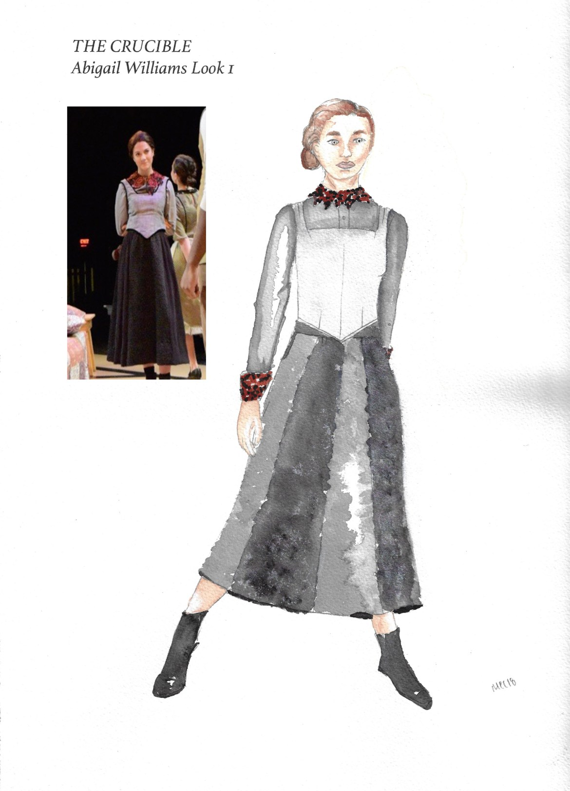 A rendering of a costume for Abigail Williams along with an imposed photo from the rehearsal.