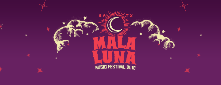 """The words """"Mala Luna"""" in orange on a purple banner with hand-drawn clouds and a moon."""