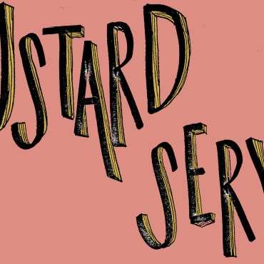 """Handwritten text reading """"Mustard Service"""" is written over a faded-pink background."""