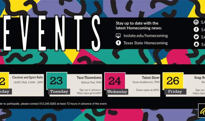 Calendar dates for Texas State Homecoming