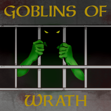 Green arms with claws hold onto the bars of a cell. Yellow glowing eyes are in shadow.