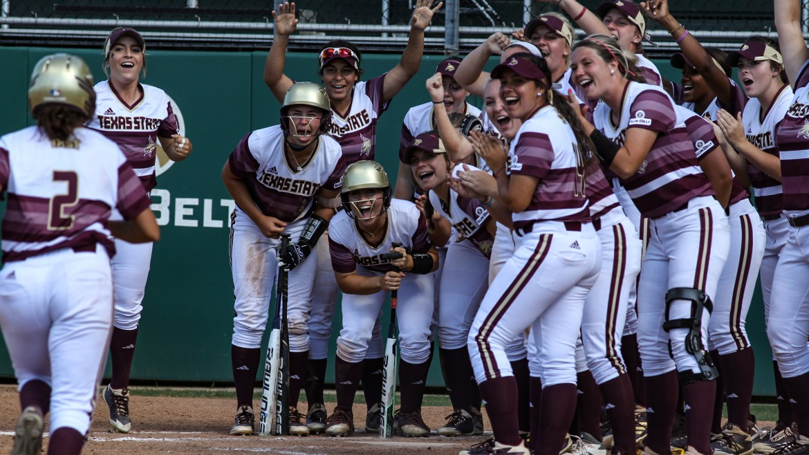 The Bobcats celebrates a huge homerun by Ariel Ortiz who broke the tie against Sun Belt rival UTA in the bottom of the fifth.