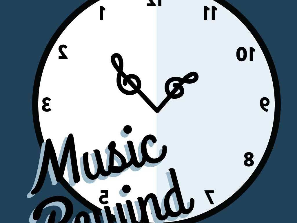 A backwards clock with treble clefs for hands.