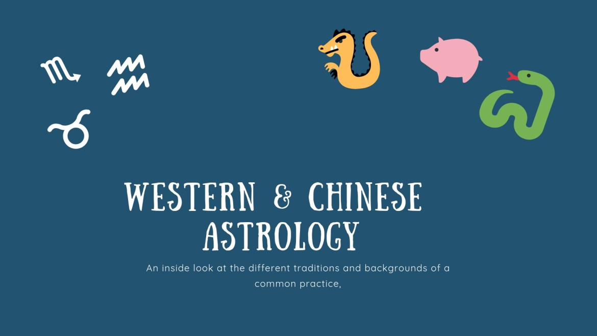 A banner with some Western astrology signs and some of the Chinese zodiac.