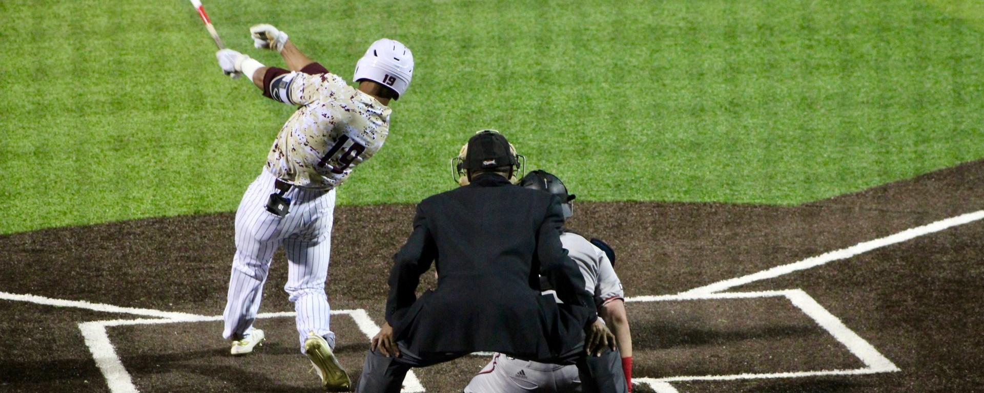 Jaylen Hubbard swings at a pitch