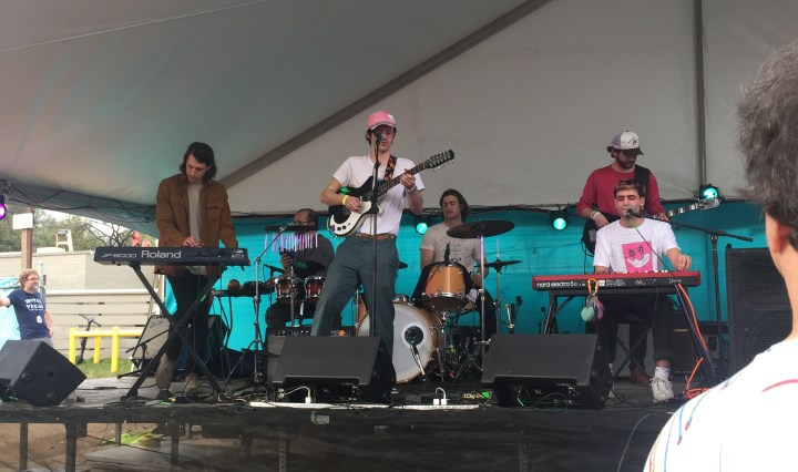 Paul Cherry and performing at the outdoor stage of Hotel Vegas on east 6th Street in Austin, TX during SXSW.