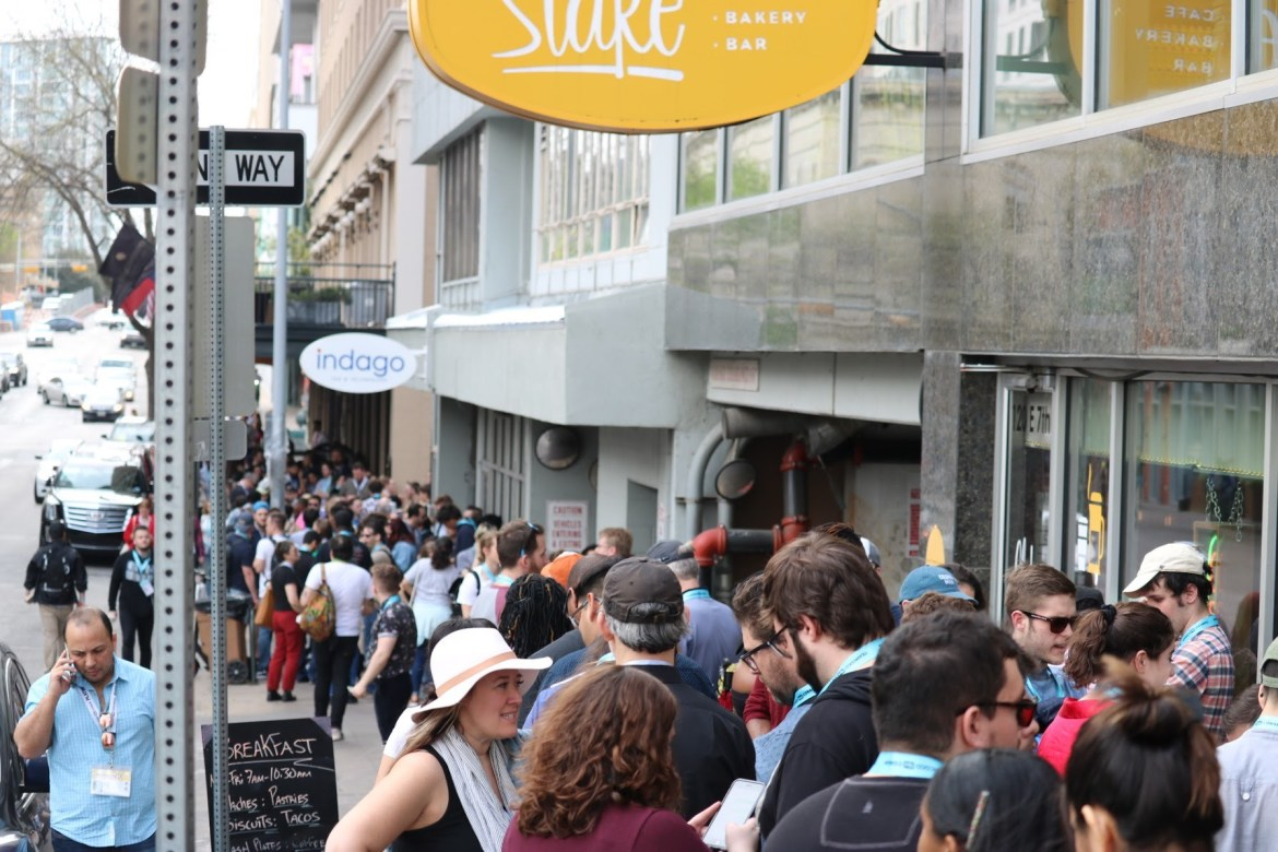 A long and crowded line for a film premiere in Austin.