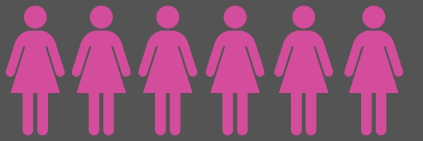 Pink icon girls in horizontal line with a gray background.