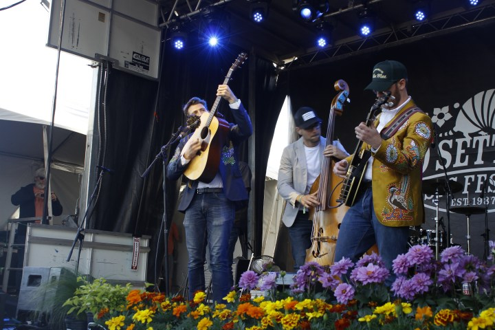 Three men on stage playing a guitar, a double bass, and a banjo.
