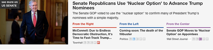 The information regarding a Senate GOP vote is shown by three different stories. From the right is Fox News, from the left is Politico, and from the center is Wall Street Journal.