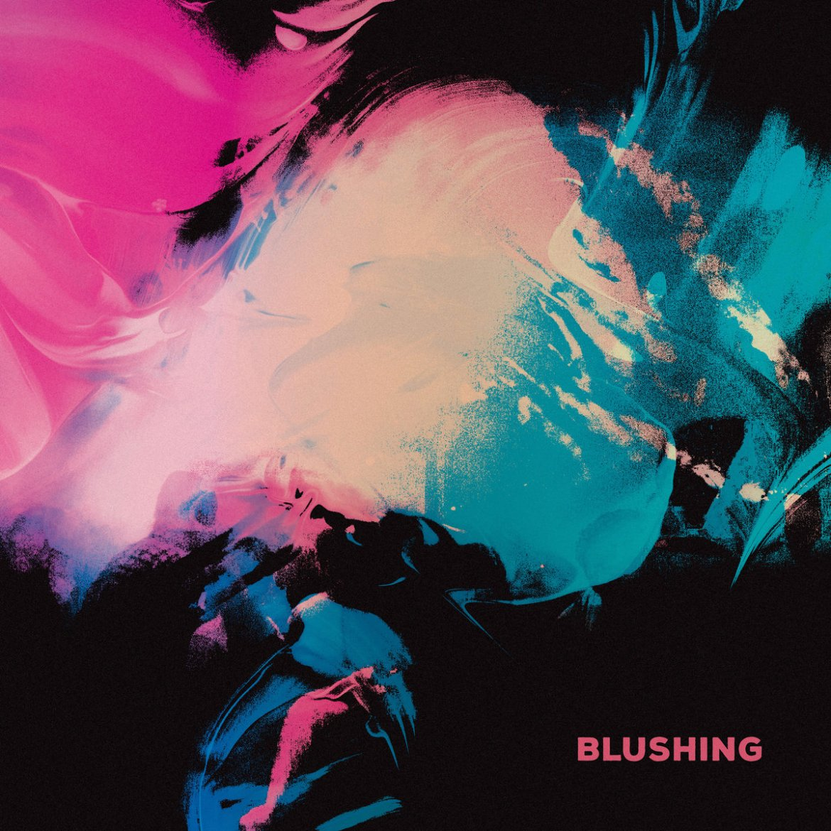 The album cover consists of blue, pink, and pale peach abstract art. Appears to look like paint strokes.