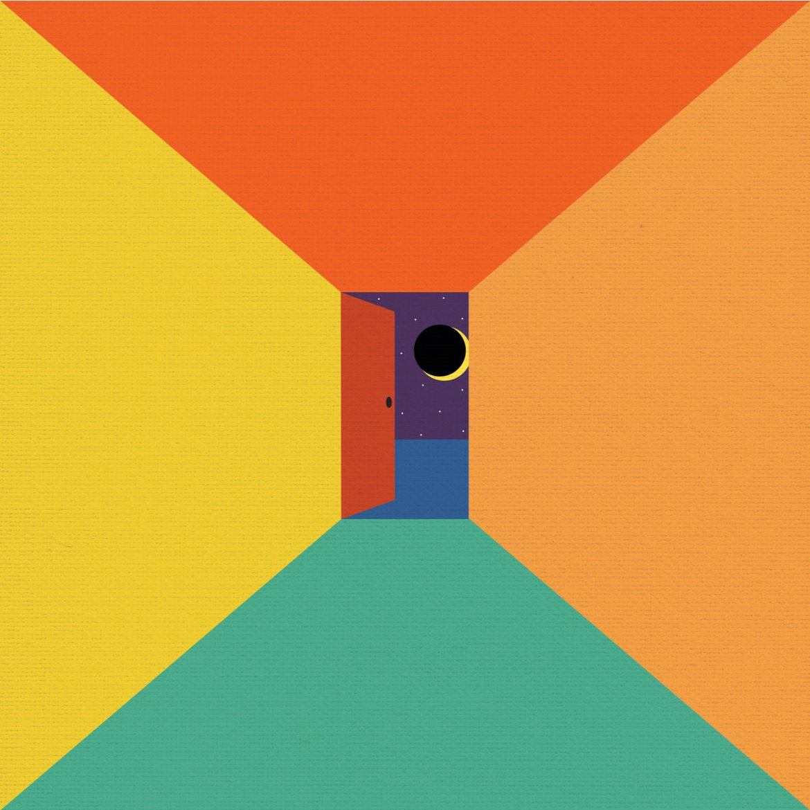 The album art features a simple, minimalist style depiction of a corridor leading to a door to what looks like a unique world in space, hence the name of the album.