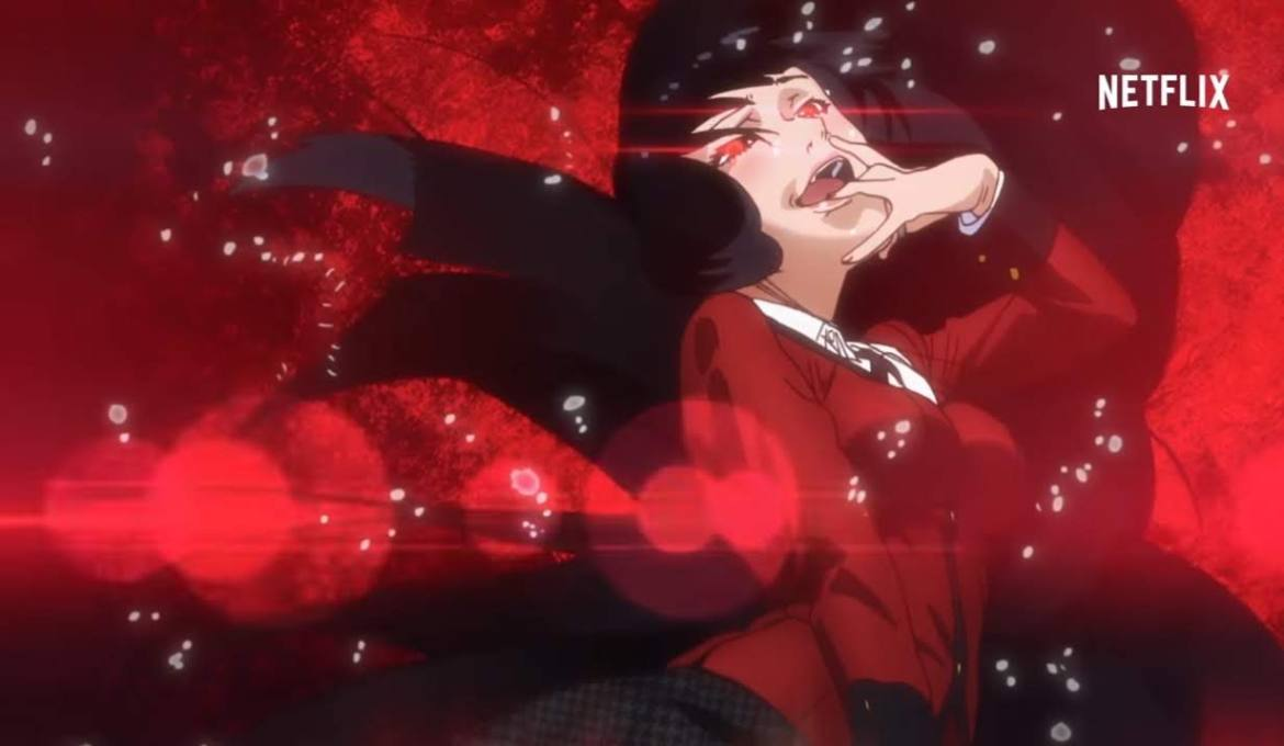 A pale skinned black haired girl with glowing red eyes in a red blouse and skirt , biting her finger in excitement.