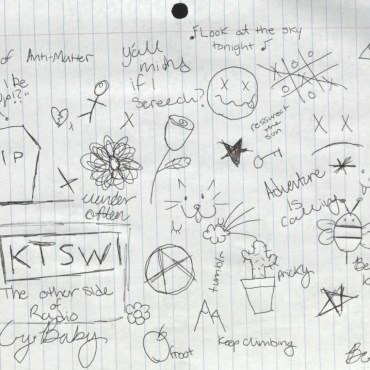 Doodles, on notebook paper, mimicking the traditional emo kid notebook.
