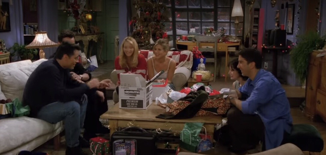 A screenshot from the tv show Friends during Christmas.