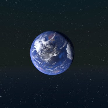 A photo of the earth from space, with a dark starry background behind the sphere