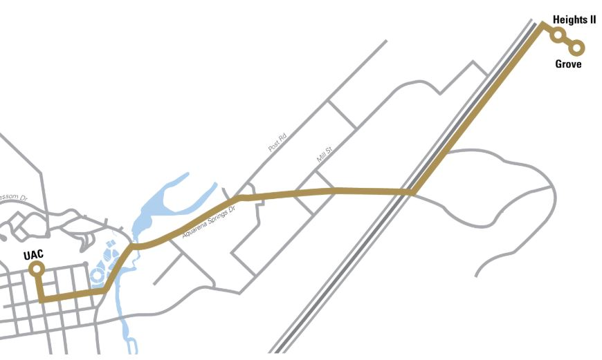 Bus shuttle route with different lines where the gold indicates the Blanco River route