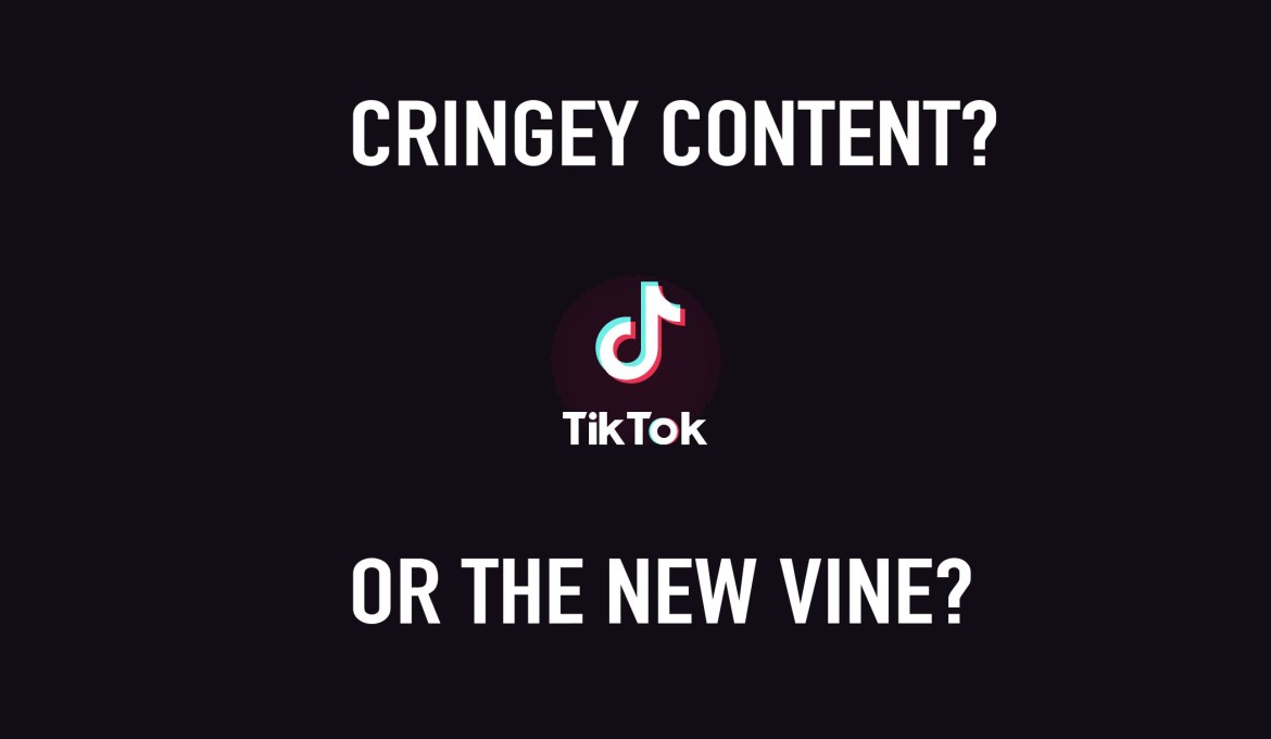 """An edit of the TikTok logo with the words """"Cringey content? Or the new Vine?"""""""