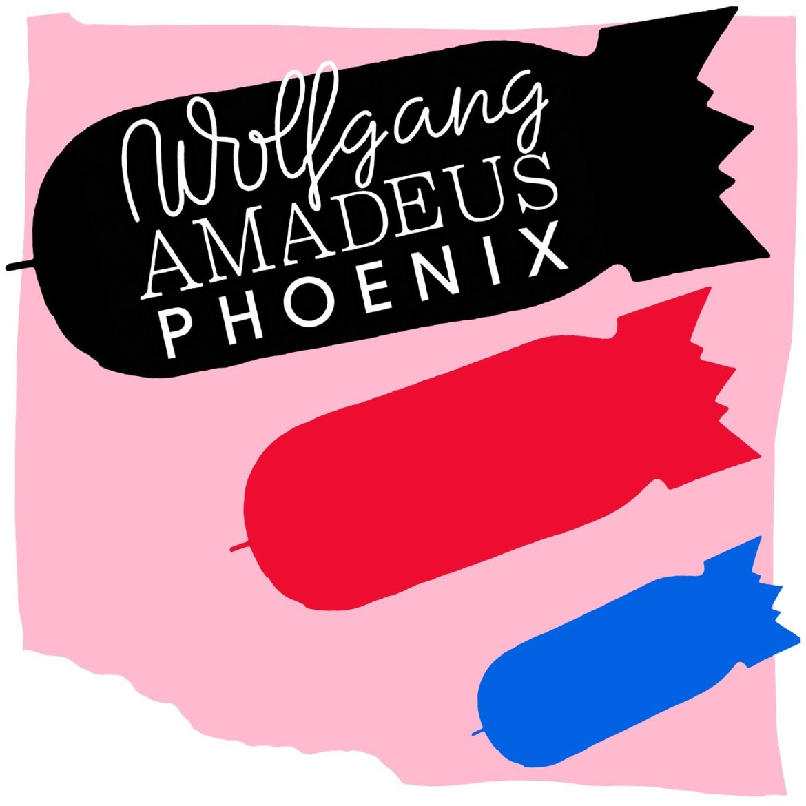 """The album cover has a black bomb, red bomb, and blue bomb on top of a pink background, with """"Wolfgang Amadeus Phoenix"""" written on top of the black bomb"""