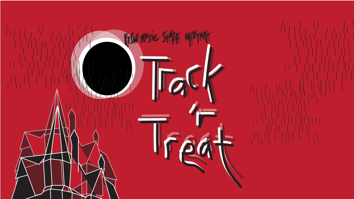 """A blurry, eclipsed moon with the phrase """"Music Staff Mixtape: Track 'r Treat"""" on a blood red background with the rooftops of a haunted house in the bottom left corner."""