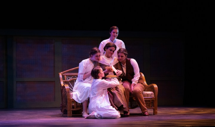Ashyln Maddox, Emily Edwards, Maura Gill and Bella Coppola surround Emma Kessler in rehearsal for Texas State's Little Women, the Broadway Musical.