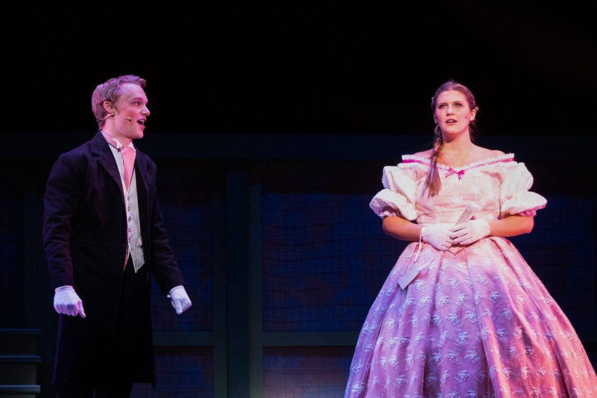Collin Trudell and Bella Coppola in rehearsal for Texas State's Little Women, the Broadway Musical.
