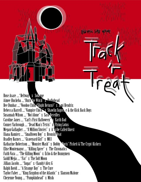"""A red, black and white themed landscape of a shadowy, geometric haunted house  on the horizon underneath an eclipsing moon with the phrase """"KTSW Music Staff Mixtape: Track 'r Treat"""" and the names of the music journalist and the songs they each chose for the mixtape aligned left"""
