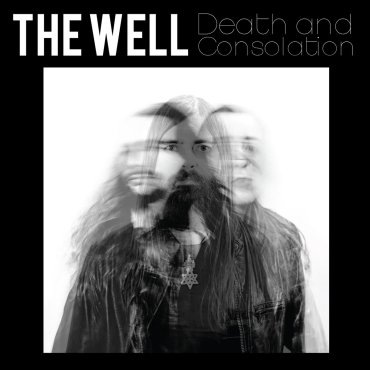 The cover for Death and Consolation shows a spliced image of the three band members over top each other in a black and white portrait.