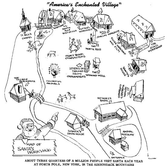A map of Santa's Workshop drawn in black and white.
